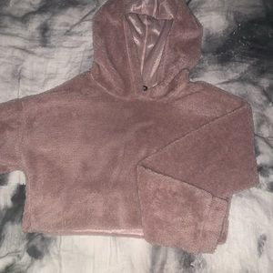 Cropped fuzzy furry hoodie